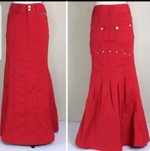 Bisou Bisou Red Trumpet Mermaid Maxi Skirt Sz 2